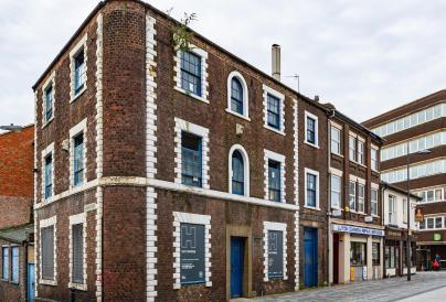 Corner shot of Hat Works building in Luton