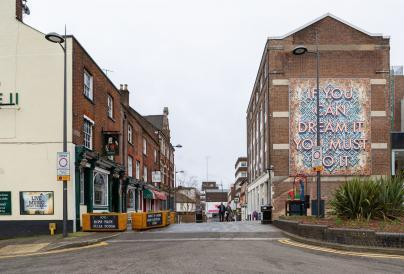 Image of Mark Titchner - If You Can Dream It, You Must Do It on the side of the Hat Factory Arts Centre in Luton