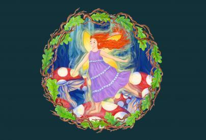 Fairy illustration in a circle