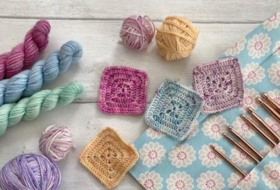 Display of crochet materials