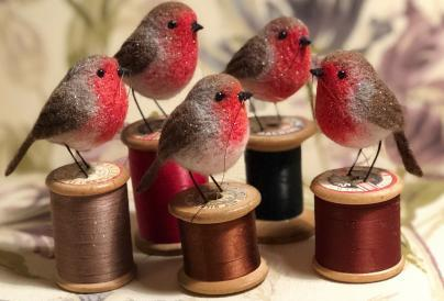 Felted Robins on a Cotton Reel