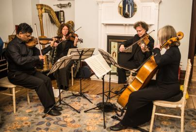 4 classical musicians playing in the drawing room at Wardown