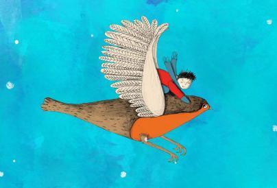 boy riding on robins back illustration