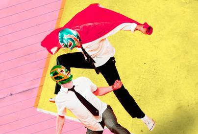 Two men in Lucha masks fighting - Square Go